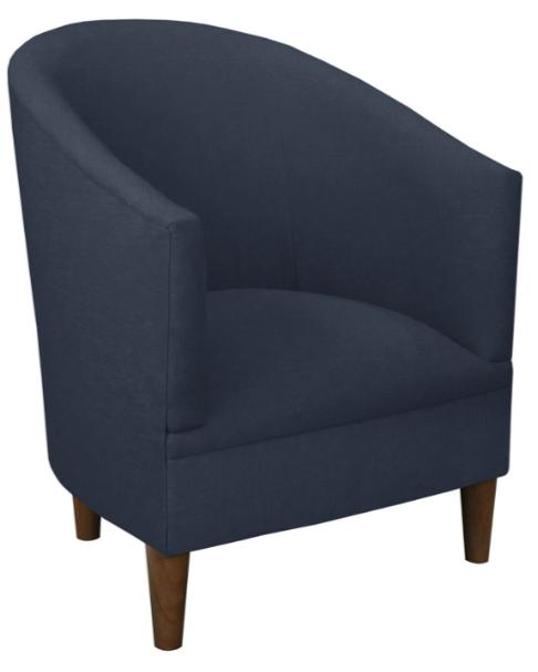 Ashlee Barrel Chair, Navy Linen
