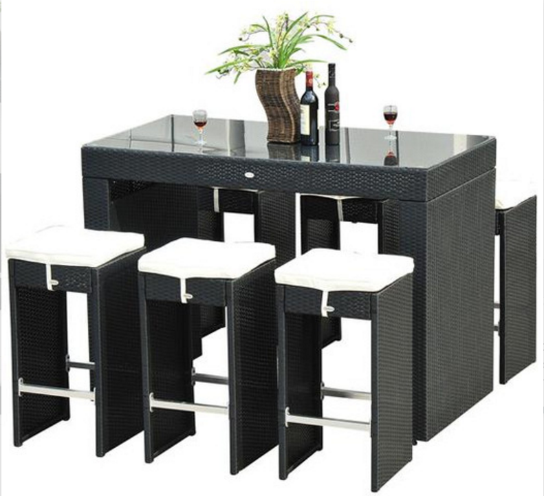 Aosom Outsunny 7 Piece Dining Table Set with Cushions