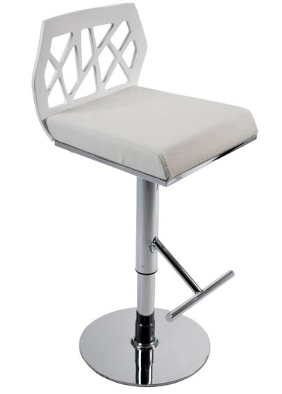 White Modern Adjustable Bar Stool