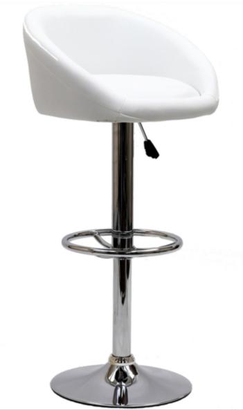 White Modern Adjustable Swivel Bar Stool