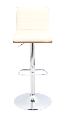 White Adjustable Height Swivel Bar Stool With Cushion