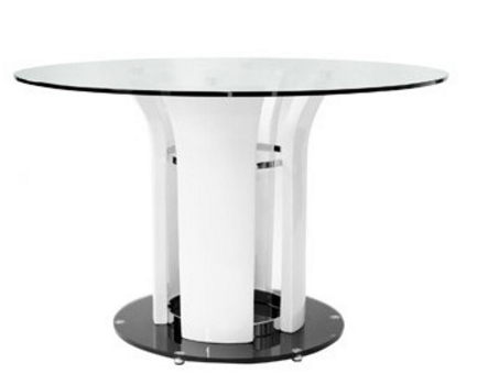 Lola White Round Glass Top Dining Table