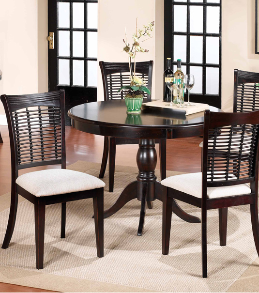 Hillsdale Black Round Contemporary Dining Table Set