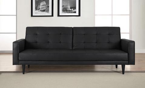 Black Convertible Leather Sofa