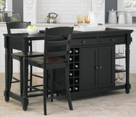 Black Kitchen Island Set by Home Styles