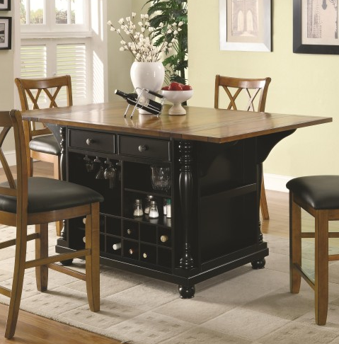 Coaster Furniture Kitchen Island Black and Cherry