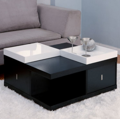 Black and White Coffee Table with Tray Top