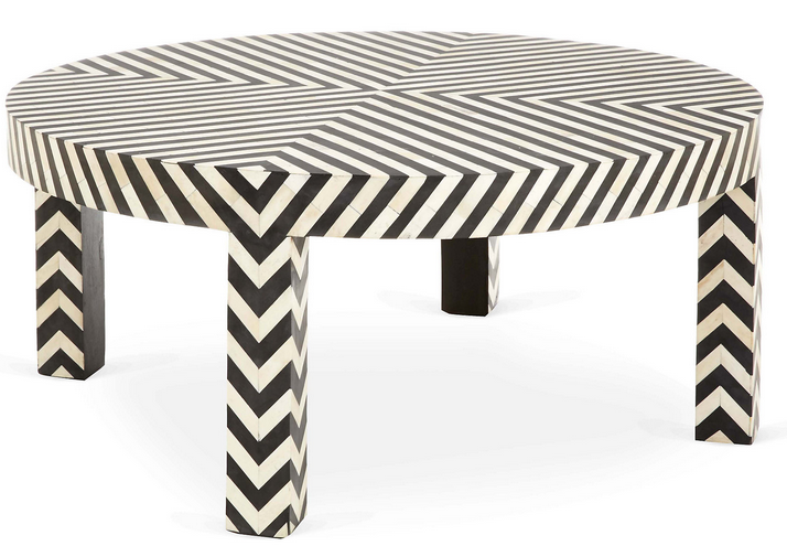 Black and White Stripes Coffee Table