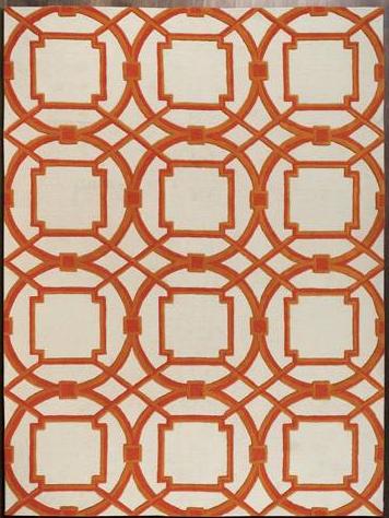 White and Orange Area Rug