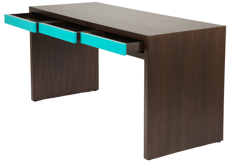 Espresso_Aqua Writing Desk