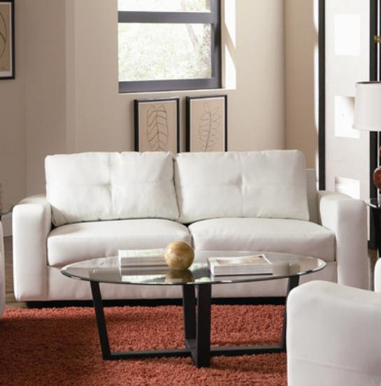 White Leather Modern Sofa
