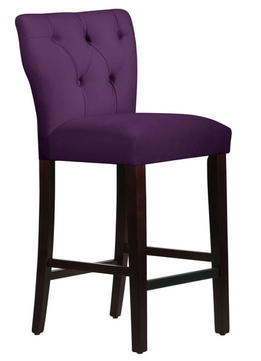 Made to Order Tufted Purple Hourglass Bar Stool