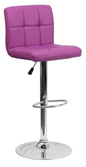 Flash Furniture Contemporary Quilted Design Adjustable Bar Stool with Chrome Base