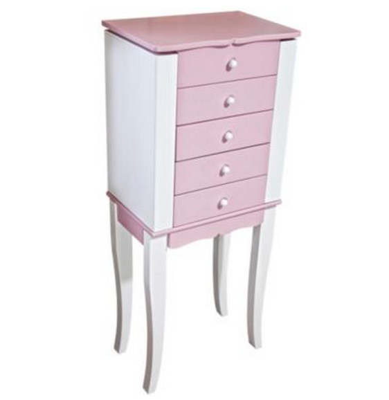 Pink and White Cute Jewelry Armoire
