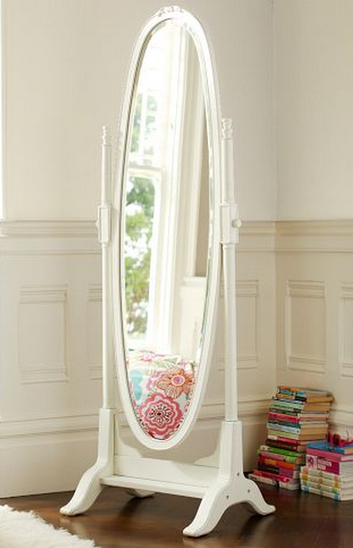 white lilac floor mirror