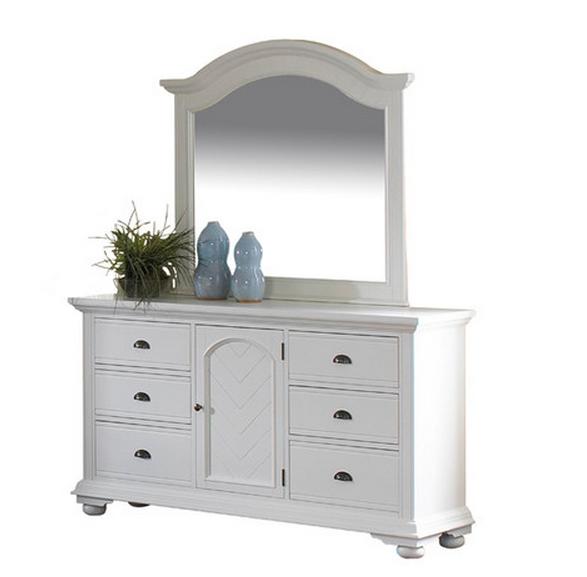 White Dresser And Mirrom Set