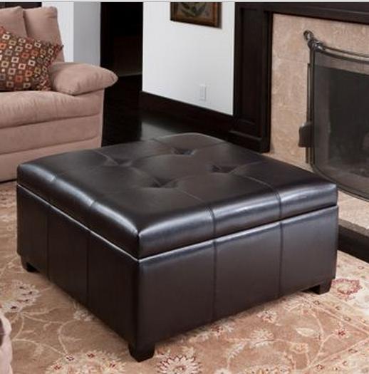 modern leather ottoman