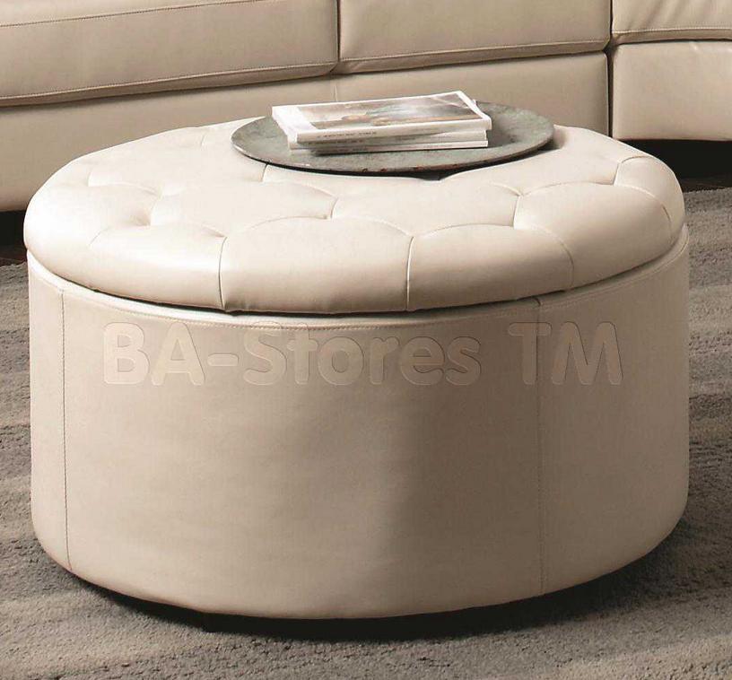 Contemporary White Leather Ottoman