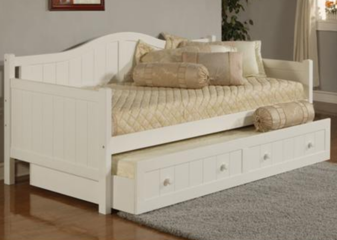 White Wood Daybed Trundle Drawer