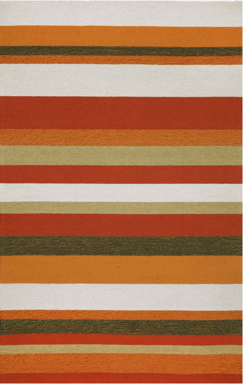 Orange Striped Area Rug