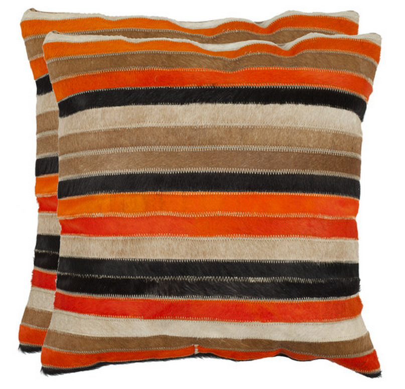 Orange Striped Pillow
